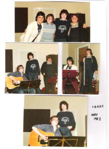 Four colour photographs of the Brazen Hussies, posing as a group and performing their songs. The pictures were taken either at a practice or at a performance in a community centre. The band look happy.