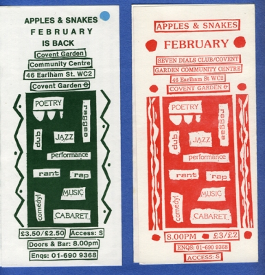 2 flyers, both advertising poetry and  music events held at Covent Garden community centre, organised by Apples and Snakes, Collaged design.