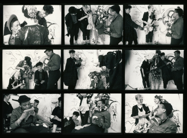 9 contact sheet black and white photos of Abandon Your Tutu members. Includes fun posed shots with and without instruments.