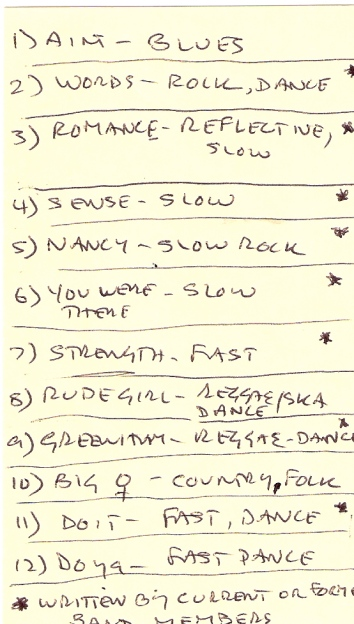 Hand-written list of sings describing qualities and tempo, e.g. Ain't Gonna Marry - blues, Sense - slow, Rude Girls - reggae/ska dance, Big Women - country/folk.
