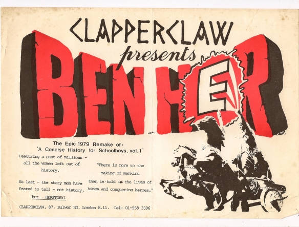 parody of the film poster for Ben Hur. Includes illustration of statue of a woman riding a chariot into battle.