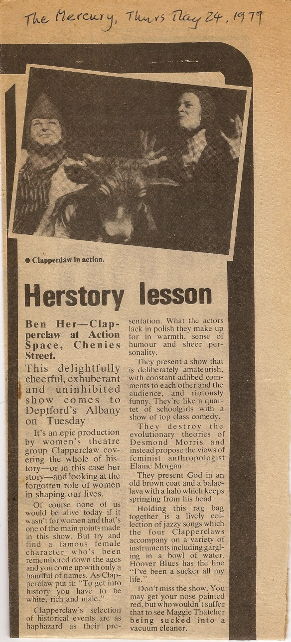 Review of Ben Her in The Mercury, 24 May 1979. The headline says 'Herstory Lesson'. The review says the show is 'delightfully cheerful, exuberant and uninhibited. Includes picture of the performance.'