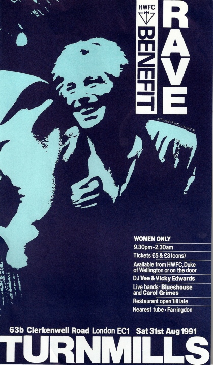 Blueshouse and Carol Grimes flyer for a 1991 gig at Turnmills, London, a benefit for Hackney Women's Football Club