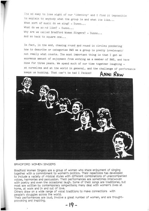 Information on Bradford Women Singers: they share enjoyment of singing with political commitment, singing traditional and contemporary songs dealing with women's lives, work, home and love, to connect with people's struggles worldwide. Black and white drawing of the eight women's faces.