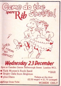 Spare Rib benefit ad for event with the Bright Girls, York Women's Rock Band, disco, women only event at the Camden Centre, December 1982. White and red cartoon drawing of women dancing.
