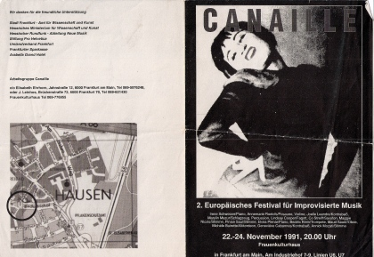 Front and back covers of a black and white flyer in German advertising Canaille's gig at the 1991 European Festival of Improvised Music in Frankfurt, illustrated with a photo of a woman with hands on hips, throwing her head back and laughing.