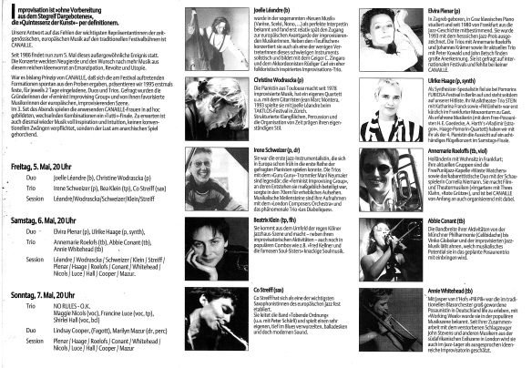 The inside of a black and white flyer for festival gigs in Frankfurt with photos of ten Canaille members, info in German.