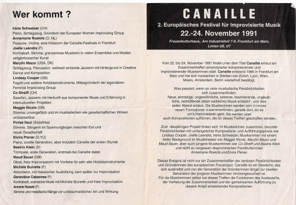 The inside of the Canaille flyer for the Frankfurt Festival of Improvised Music. Text in German lists performers including Maggie Nicols, Lindsay Cooper, Pinise Saul.