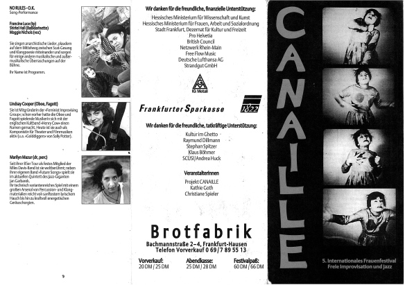 The outside of a black and white flyer for festival gigs in Frankfurt with photos of bands Canaille and No Rules OK