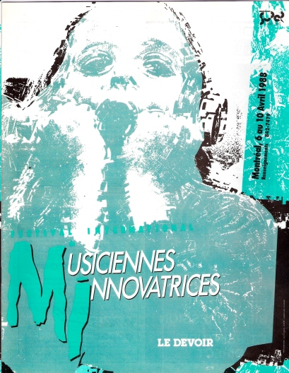 Cover of programme in green, black and white, entitled Musiciennes Innovatrices