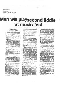 Review of Canaille headed 'Men will play second fiddle at music fest.'