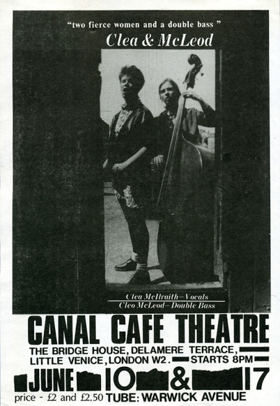 'Two fierce women and a double bass' - black and white poster photo of the two women, with info on a gig held at the Canal Cafe in west London, c. 1986