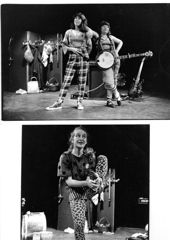 Two photos of the band. The first includes Caroline and Rae leaning next to each other at the centre of a stage. The scenery for the performance is visible in the background of the image. The second image is of Rix holding her foot.