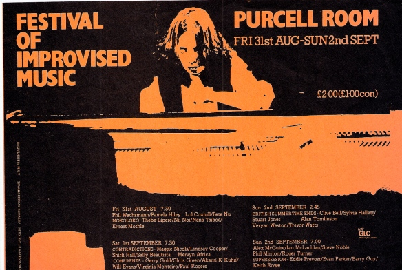 Orange and black flyer for the Festival of Improvised Music at the Purcell Rooms showing a woman playing piano intently, hair falling over her serious face.