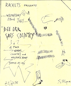 Handwritten flyer 'Dee Orr Goes Country, a 4 piece women's country and western band. Yippie - ay - aye' performing at Rackets women's club in Islington, with a sketched drawing of a dancing woman in cowboy boots and hat.