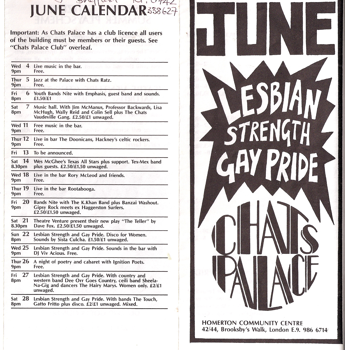 Front cover 'June' in block capitals, 'Lesbian Strength and Gay Pride.