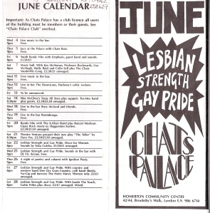 Front cover 'June' in block capitals, 'Lesbian Strength and Gay Pride.' Text inside exploding dark background graphic, Chat's Palace in deco-style font. Back cover listings include Dee Orr, Touch, Sista Culcha and Viv Acious