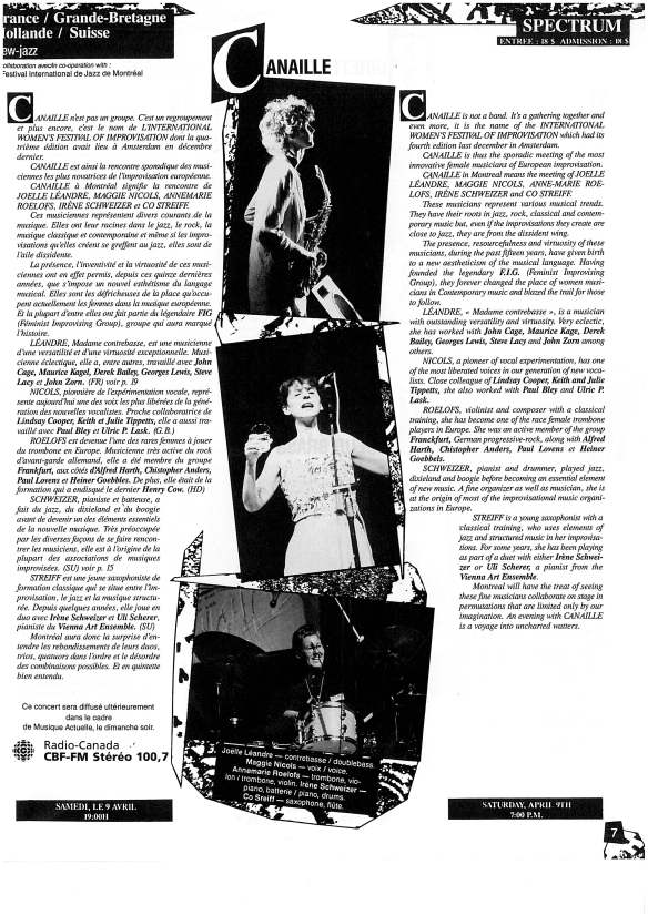 Entry for Canaille in programme of Festival Musiciennes Innovatrice, Montreal 1988, black and white photos of members playing. text descriv=bing Canaille as 'not a band but a gathering together' of innovative female musicians.