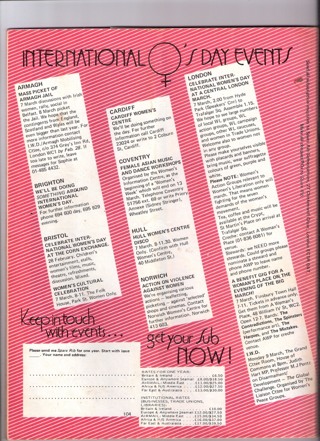 Black lettering over pink and white stripes lists events over a full page, including a picket of Armagh Women's jail, Belfast; celebrations in Brighton, Bristol, Cardiff, Coventry, Hull, Norwich and London's march from Hyde Park to Trafalgar Square after which a benefit social for A Woman's Place women's centre includes the bands Contradictions, The Harpies and the Mistakes.