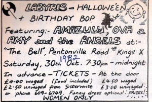 Hand drawn flier for 1982 benefit for Labyris, a women's taxi firm. Bands include Ova, Amazulu and Amy & the Angels.
