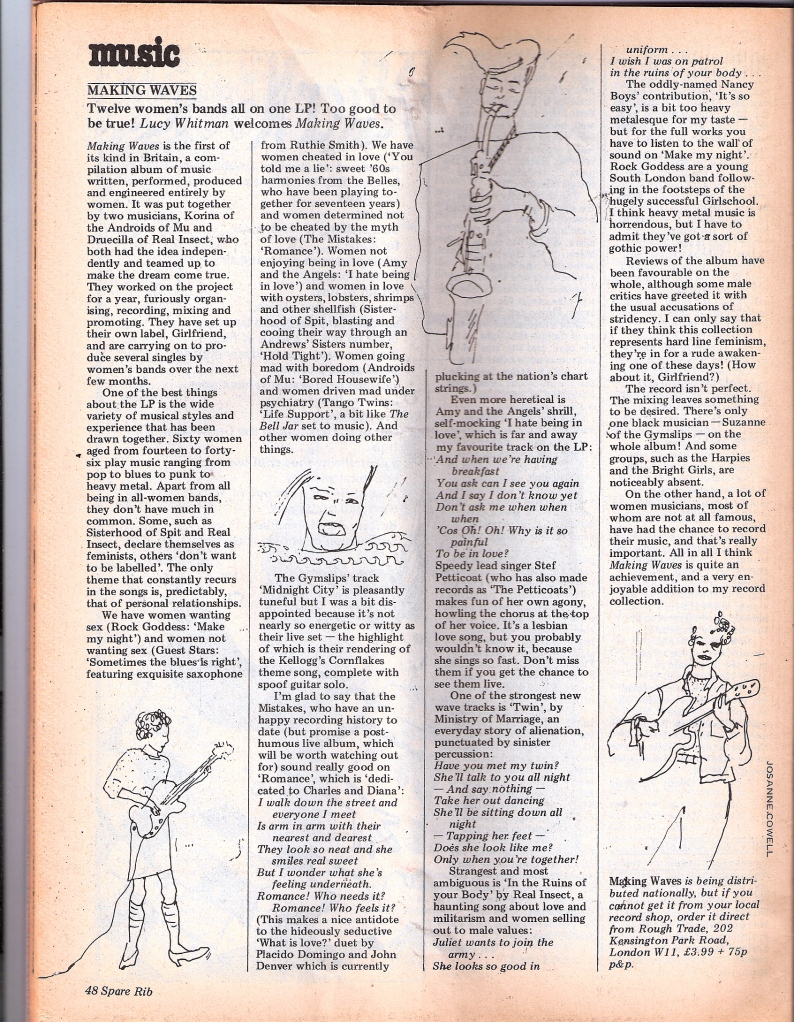 Lucy Toothpaste's review of 'Making Waves' LP in Spare Rib, 115 1982. Accompanied by hand drawn picture of saxophonist.