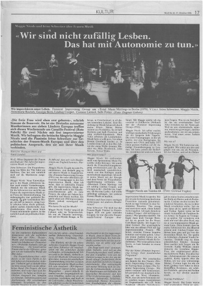 A 1979 newspaper article on Canaille, with black and white photos of performances and an interview with Maggie Nicols, headed 'Wir sind nicht zufallig Lesben. Das hat mit Autonomie zu tun.'