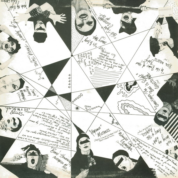 Back of album cover. Lots of images of women wearing make-up. Diagonal lines and handwriting.