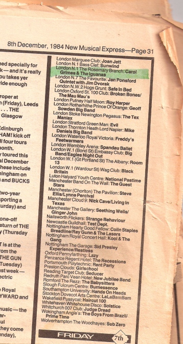 Fragment of a page from New Musical Express with a listing for Carol Grimes and the Iguanas at the Rosemary Branch pub, London N1.
