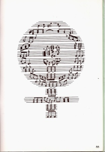 A hand-drawn image of a Women's Liberation Movement symbol using musical notes and staves