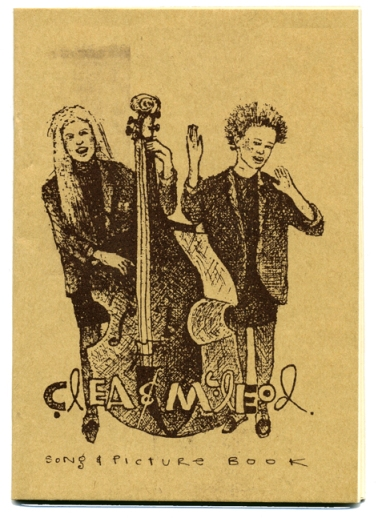 This songbook cover features a hand-drawn picture of the two women singing and playing double bass or clapping. Their names are written across the bottom and 'songs and drawings'.