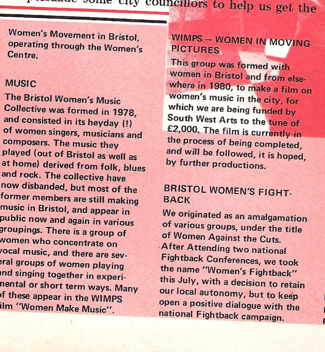 Information on Bristol Women's Music Collective, formed 1978: singers, musicians, composers. Though the collective had disbanded, some members continued playing and appeared in a film on women's music in the city, made by Women in Moving Pictures.