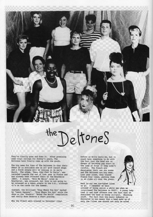 A positive review article from Zoot magazine, publicising the release of the Deltones debut album, 'Nana Choc Choc in Paris' noting that it was recorded in France where the band had a large following. Illustrated with black and white publicity shot of ten women and one man (they had been unable to find a female drummer) smiling to camera.