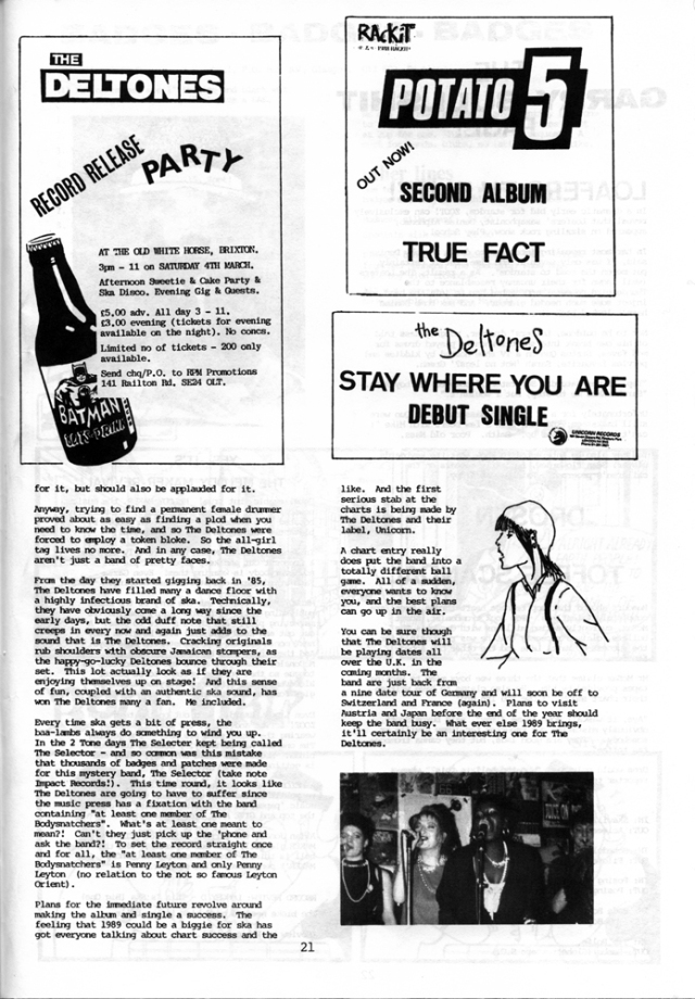The Zoot article continues positively about the Deltones and an ad for their record release 'afternoon cake and sweetie party' at The Old White Horse, Brixton, on 4 March, illustrated with a drawing of a bottle of Batman beer, and an ad for the debut single 'Stay Where You Are,' on the Unicorn label.