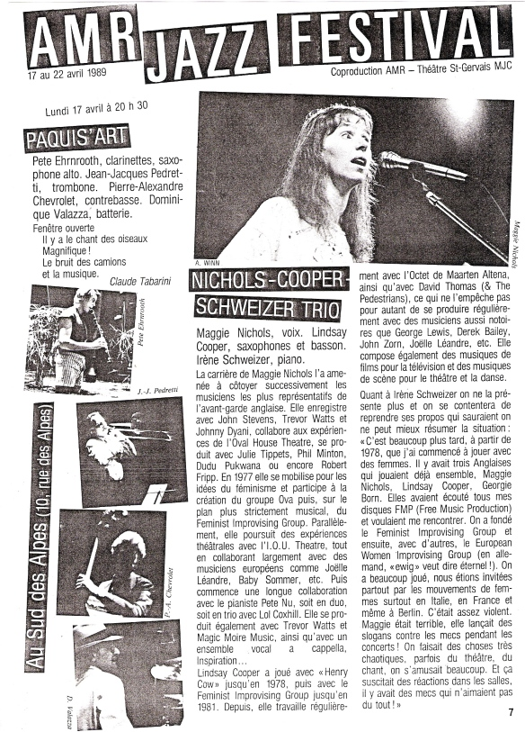 Information sheet from the AMR Jazz Festival 1989, in French, including the Nichols-Cooper-Schweizer trio, illustrated with a small photo of Maggie singing.