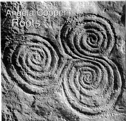 A black and white photo of three joined spirals from the 5000 year old site at Neath, with 'Angela Cooper, Roots,' written over it.
