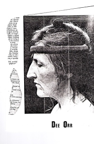 A portrait photo of Dee Orr in profile, looking seriously dramatic, from a Sally Forth programme. Fragments of text beside her.