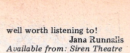 review by Jana Runnalls concludes 'well worth listening to!'