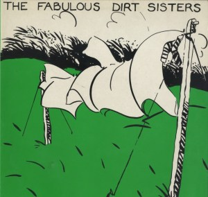 Album cover. Green, white and black image of clothes being dried on a washing line.