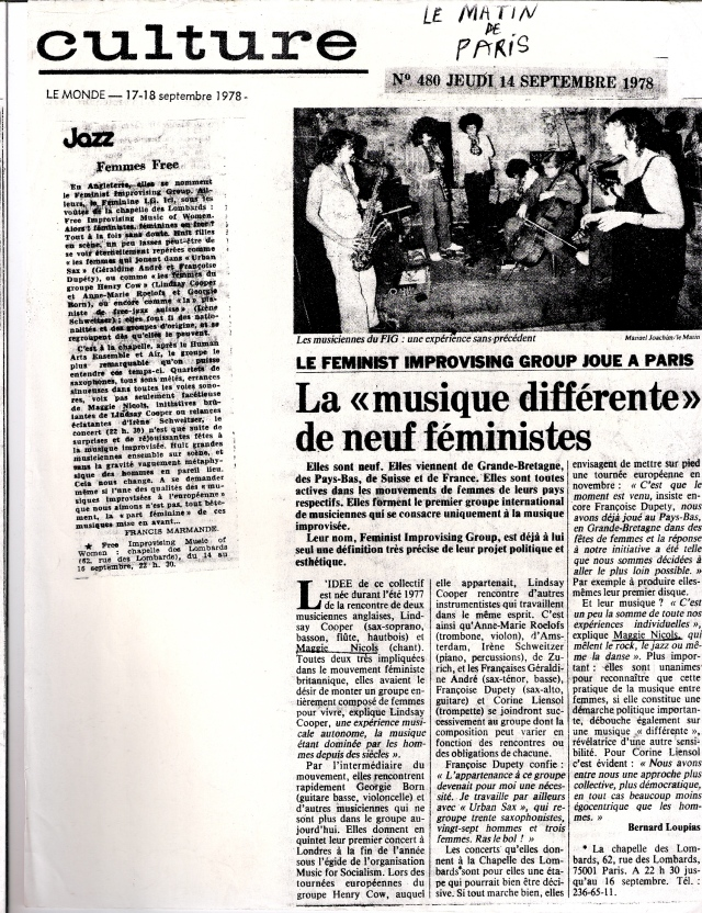 Newspaper article from French newspaper Le Monde. Image of band. Headline: 'La musique differente de neuf feministes.'