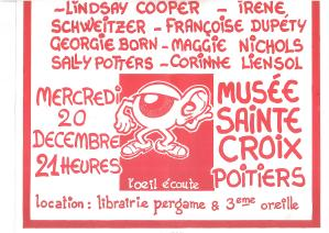 FIG poster, red and white. Bottom half. Names Lindsay Cooper, Irene Schweitzer, Francoise Dupety, Georgie Born, Maggie Nicols, Sally Potter, Corine Liensol. 20 Decembre 21 heures, at Musee Sainte Croix Poitiers.