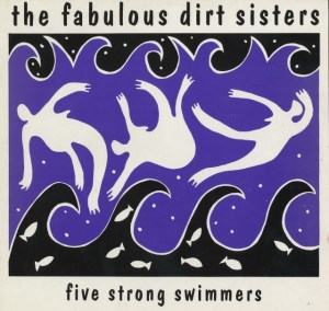Cover for Five Strong Swimmers. Black, white and purple image of three women inside a wave.