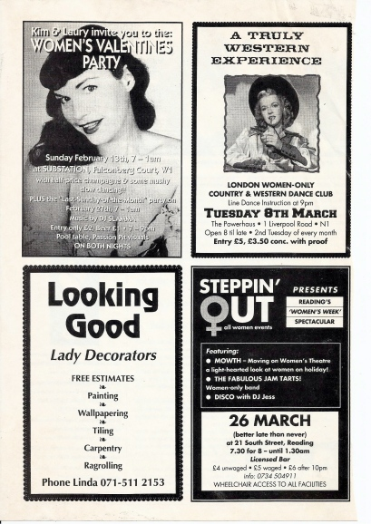 An ad for 'Steppin' Out' in Reading 'women's week spectacular' featuring women's theatre, the FJTs and disco. Other ads on this page are for  Looking Good women's decorating firm, a Women's Valentine Party, and a London Women Only Country and Western dance.