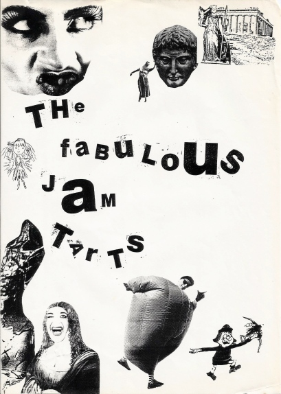 A whimsical collage of the words 'Fabulous Jam Tarts' and cut out pictures: the Mona Lisa laughing, Beryl the Peril, Greek goddesses.