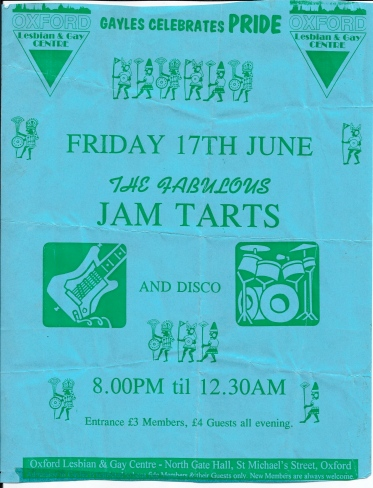 Flyer for Gay Pride's Fabulous Jam Tarts gig at Oxford Lesbian and Gay Centre, decorated with green pics on blue paper, drawings of guitar, drum kit, triangles and marching figures of Latin American style.