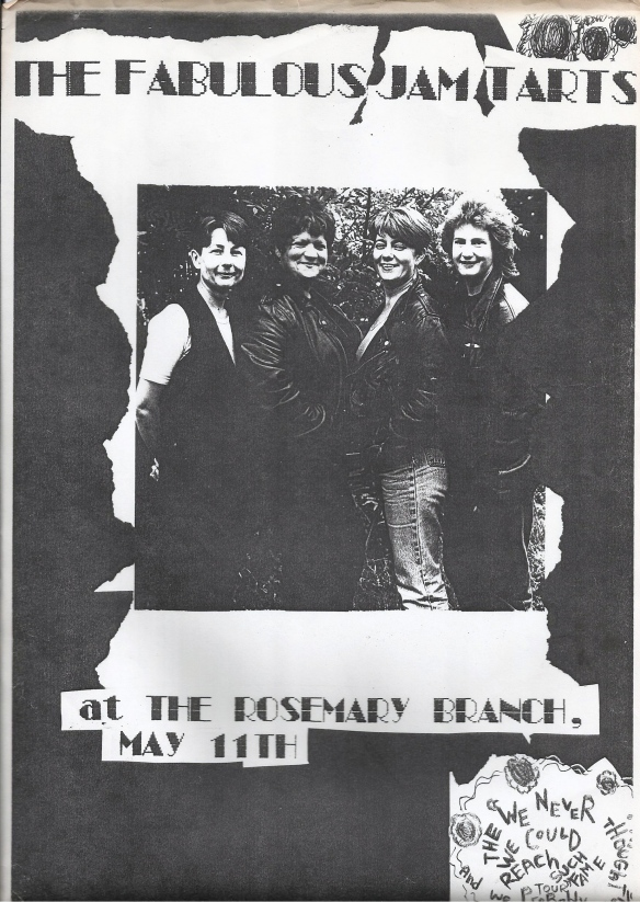 black and white publicity photo on flyer advertising a gig at the Rosemary Branch.