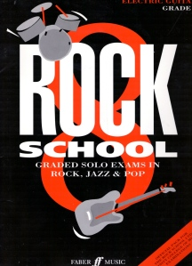 Stylised cover in black, red and white, of the exam course composed by Georgette. A drawing of drum kit and guitar illustrate the cover which reads 'Rock School. Graded solo examinations in rock, jazz and pop. Published by Faber Music.'