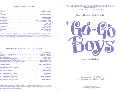 flyer for teh Go-Go Boys, music by Jo Richlere, 1985, at the canadian National Arts Centre.
