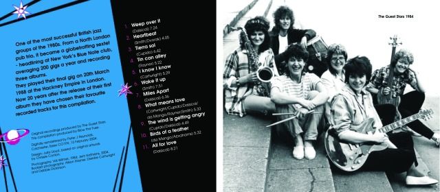 Blurb reads ' One of the most successful British jazz groups of the 1980s. From a north London pub trio it became a globetrotting sextet, headlining at New York's Blue Note club, averaging 200 gigs a year and recording three albums.' Illustrated by a photo of the sextet from 1984. A publicity shot in which they hold instruments, sitting on steps and smiling. Album produced by Blow the Fuse.