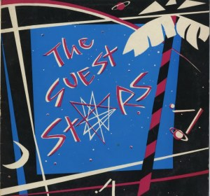 Front cover of this 1984 CD in the Guest Stars' characteristic blue, pink, black and white design, abstract drawings of moon, stars, music, a palm tree.