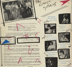 Back cover of the Guest Stars album has photos of band playing. Image unfortunately unclear so text illegible, but bright pink and blue musical notes and images make it dynamic.